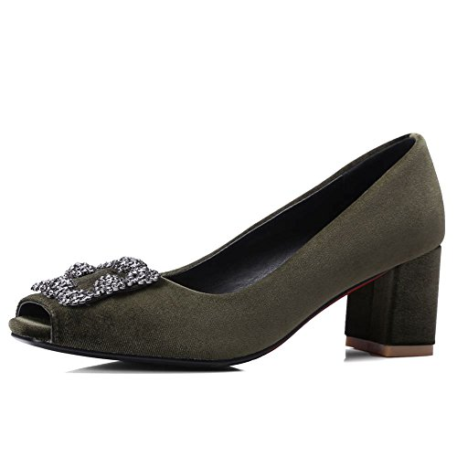DecoStain Damen Peep-Toe, Grün - olivgrün - Größe: 42