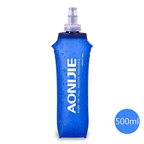 Imagen de docooler plegable deportes bpa libre de pvc suave agua corriente eléctrica suave senderismo flask botella de hidratación, 500ml