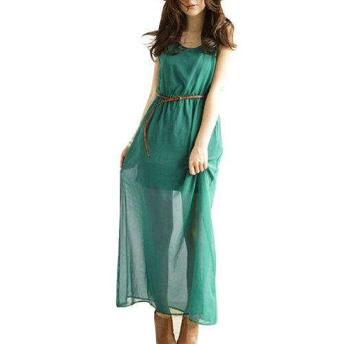 Femmes Sans Manches Avec Doublure Semi-transparente Long Robe Mousseline Clair Sarcelle Couleur