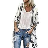 Fenverk Damen Bikini Cover Up Boho Strandkleid Kimono Chiffon Cardigan Sommer 3/4 äRmel Leicht Tuch Lange Mit Blumen Muster(Weiß,XXL)