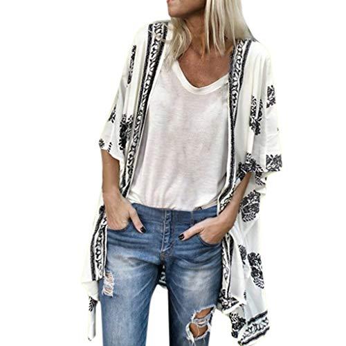 Fenverk Damen Bikini Cover Up Boho Strandkleid Kimono Chiffon Cardigan Sommer 3/4 äRmel Leicht Tuch Lange Mit Blumen Muster(Weiß,M)