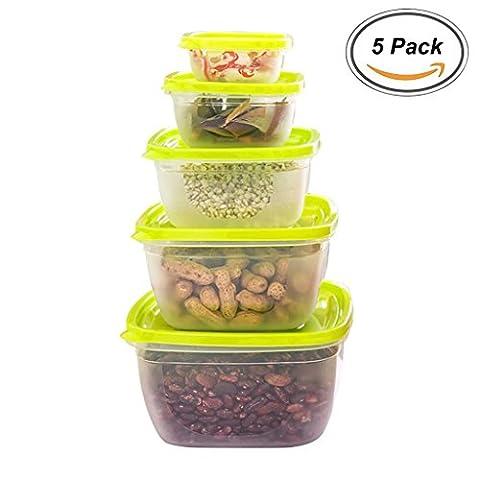 Pack de 5 rondes de récipients de stockage de nourriture verte, récipients de préparation de repas Boîtes de déjeuner avec couvercles, Boîte Bento en plastique sans BPA, réutilisable, lave-vaisselle