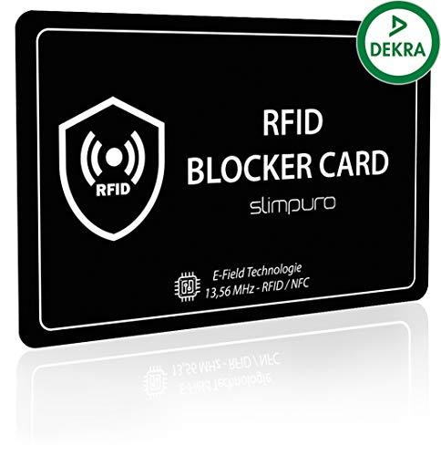 RFID Blocker Karte DEKRA Getestet - Störsender Technologie - NFC Schutzkarte - zum Schutz vor Datendiebstahl - extra dünne Karte mit 0,8mm geeignet für Jede Geldbörse - Kartenschutz   NFC Schutz