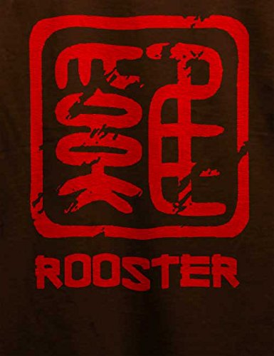 Chinese Signs Rooster T-Shirt Braun