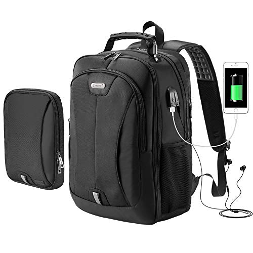 eb172061e392 Large Travel Backpack with USB Charging Port and Audio Jack, Business  Modular Laptop Rucksack with Removable Sling Bag for Men and Women, Water  ...