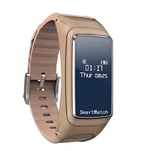 Multifunktions-bluetooth-ear Form Tägliche Wasserdicht Smart Armband Uhr, mamum Blut Sauerstoff Druck Herzfrequenz Monitor Schrittzähler Smart Watch Bluetooth Kopfhörer braun/schwarz/weiß Einheitsgröße braun