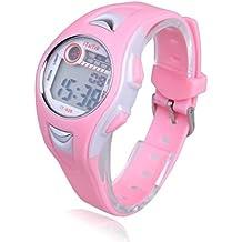 Malloom® moda impermeable Niños Niñas natación deportes silicona digital reloj de pulsera rosa