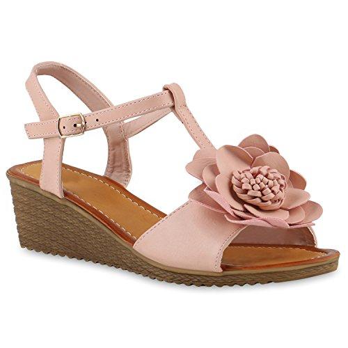 Stiefelparadies Damen Keilsandaletten Sandaletten Denim Bast Leder-Optik Blumen Keilabsatz Sandalen Wedges Strass Schuhe 143299 Rosa Blumen 39 Flandell (Leder Sandale Denim)