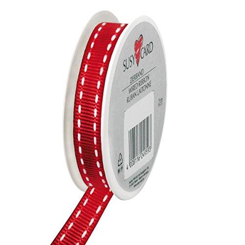 Susy Card 40003597Navidad de cinta de tela, 2mx10mm, en carrete de tamaño pequeño, 1pieza, de punto de color rojo