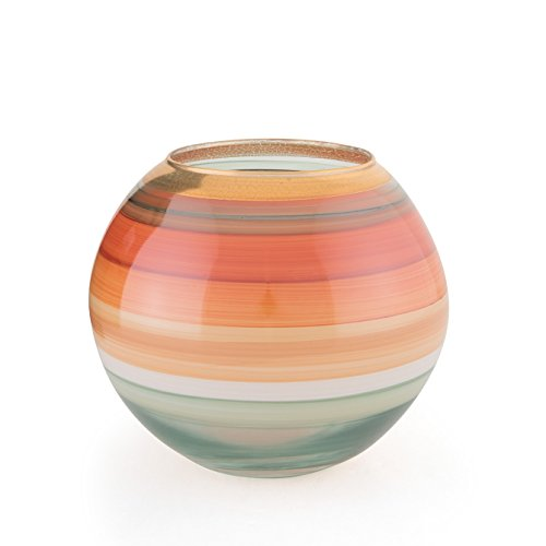 Angela neue Wiener Werkstaette Kugelvase aus Glas veredelt, orange/wasserblau 14 x 14 x 12 cm