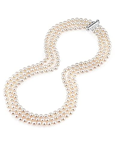 5.0-5.5mm White Freshwater Triple Strand Cultured Pearl Necklace, 16-17-18