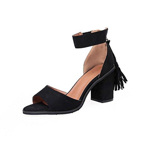 Quaste Fischkopf Wort Schnalle Schuhe Sandalen Frauen wilde feste Farbe Black