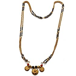 Radha's Creations Traditional Mangalsutra High Quality Chain with Black Beads and 2 Lakshmi Coins 30 inch Length One Gram Gold Plated For Women and Girls