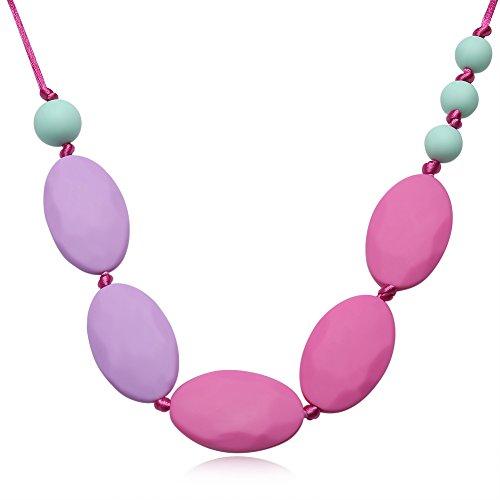 Tbslee Lila Baby Kinderkrankheiten Beißring Spielzeug Halskette Schmerzlinderung Silikon Mom Schmuck Zahnbürste BPA Freies Spielzeug Geschenk -