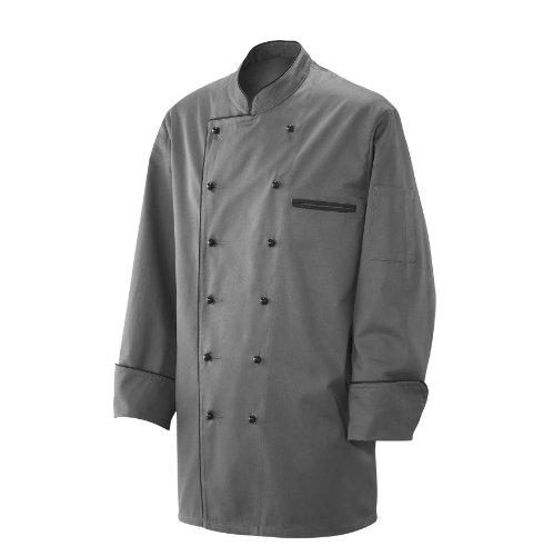 Kochjacke Bäckerjacke Jacke Langarm Silbergrau mit schwarzem Paspel 65% Baumwolle, 35% Polyester Gr. S-3XL, Grau, Herrengr. XL 56/58 Damengroeße XL 48/50 (Paspel Ärmel)