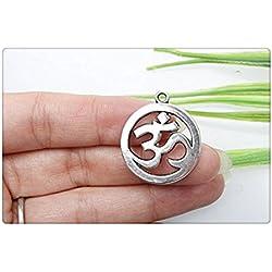 3pcs propio Encanto, antiguo plata tibetana Yoga Símbolos Charms Colgantes, colgantes de OM 19x 23mm
