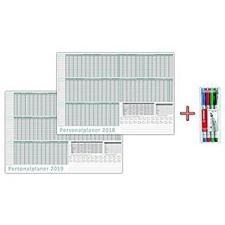 Urlaubsplaner / Personalplaner 2018+2019 inkl. Stifteset, nass abwischbar DIN B2 Format (700 x 500 mm) für 22 Mitarbeiter