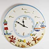 Orologio in ceramica stile marino diamentro 34 cm