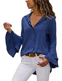 6ca0486393853a ZIYYOOHY Damen Chiffon Bluse Hemd Tunika Oberteile Trompetenärmel  V-Ausschnitt Button-Down Freizeit