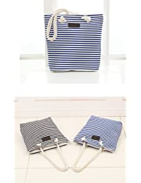 Morhua Shoulder Tote Bag Handbag, Stripe Canvas Shoulder Bags Rope Hand Straps Handbag For Women Beach Bag, (Blue)