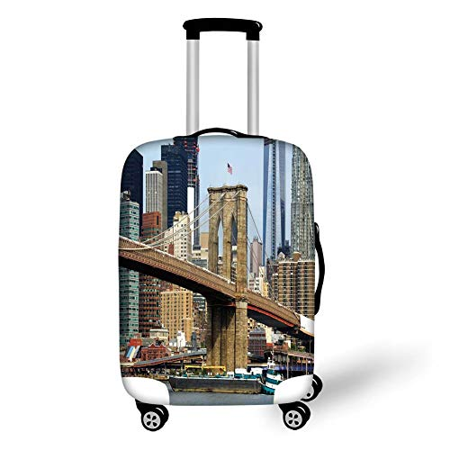 Travel Luggage Cover Suitcase Protector,Urban,Skyline of Brooklyn New York USA Cityscape Bridge Buildings and River Coastal Scenery,Multicolor,for Travel L