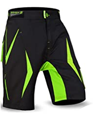 cortocircuitos de MTB a paso ligero, Coolamax acolchada y desmontable forro interior, Estilo libre del tamaño adulto (Black / Green 2002, M)