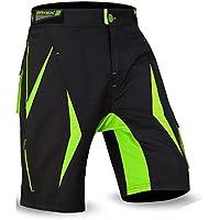 Brisk Mens ciclismo mtb Shorts (negro/verde, grande)