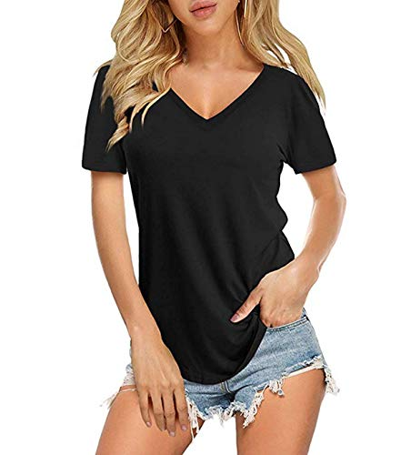 Yidarton Damen Sommer T-Shirt Basic Kurzarm Tops V-Ausschnitt Lockere Oberteile Solide Casual Shirts, Schwarz, XXL -