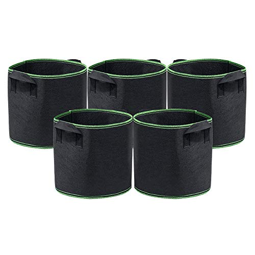 Organizzatore di Vestiti Grow Bags Borsa 5 Galloni per Piante con Manici Cinturini Tessuto Non Tessuto Traspirante per Vasi Trattamento Radici Borsa Fioriera Ecologica 5 Pezzi