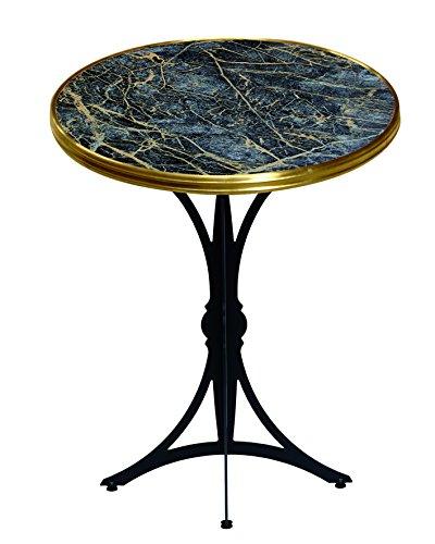 Table Guéridon d'intérieur Bistrot moderne Rd60cm Marbre Noir Cerclé de Laiton