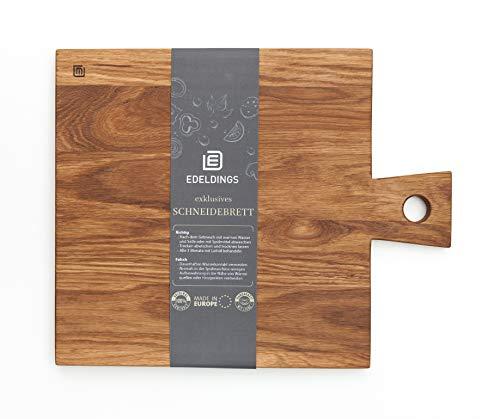 Schneidebrett Holz aus geöltem Eichenholz mit Griff   Groß 25 х 25 cm   12 Monate Garantie   Massivholz Küchenbrett aus Europa   Antibakterielles Holzschneidebrett, Holzbrett aus massiver Eiche