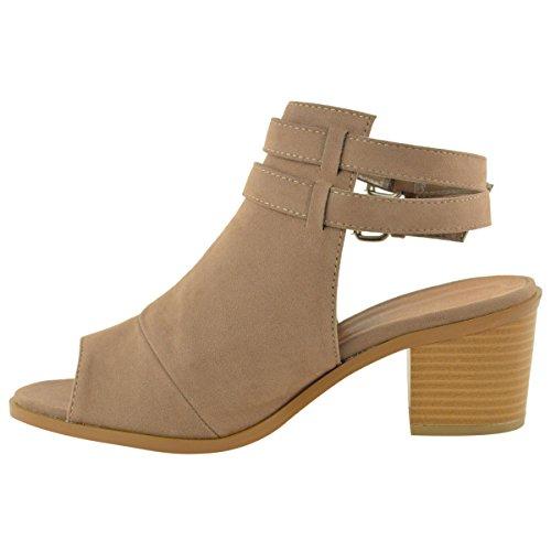 DONNE apertura sulla schiena punta aperta tacco spesso Cinturino alla Caviglia Chelsea SCARPE STIVALI color Moca camoscio