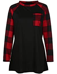Weant Ladies T Shirt Dresses Plaid Patch Pocket Pullover Sweatshirt Sweater Tops Womens Jumper Sale Clearance Plus Size Open Back Loose Blouse