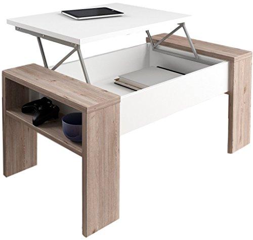 Studio Decor Andrea Table Basse relevable en Bois Nelson/Blanc 98 x 50 x 43 cm