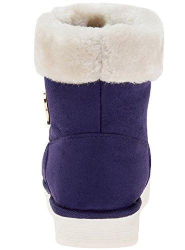 oodji Ultra Femme Bottes Mi-Hautes avec Finition en Fausse Fourrure Violet (8800N)