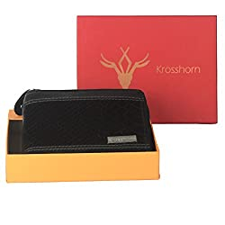 Krosshorn Leather Black Casual Regular Wallet (KW11081)