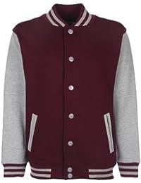 FDM Kid Varsity Jacket Kinder Baseball Schule Contrast Sleeve Sweat Top