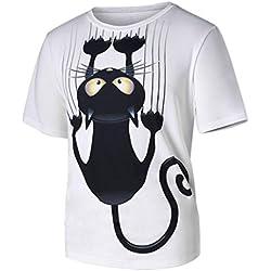 Hombres Mujeres Pareja,Longra ★ Hombres Mujeres Pareja Modelos Cat Patrón Imprimir O-Cuello de Manga Corta Camiseta Tops Blusa (M, Blanco)