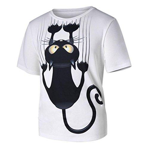 Hombres Mujeres Pareja,Longra ★ Hombres Mujeres Pareja Modelos Cat Patrón Imprimir O-Cuello de Manga Corta Camiseta Tops Blusa (L, Blanco)