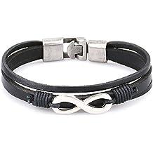 Pridot Pelle Amicizia Bracciali Accessori Nero Unisex del Braccialetto del Infinity Factor Wristband Cuff Tribale Con Retro Lega Chiusura - Lega Wristband