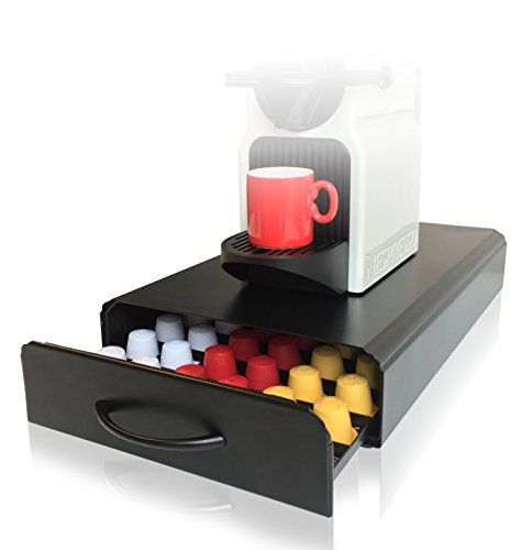 Superb Nespresso Pod Holder | 60pcs | CAFE CONCETTO | Nespresso Stand U0026 Pod Storage  Drawer | Nespresso Coffee Capsules | Anti Vibration Design (Metal / Black)