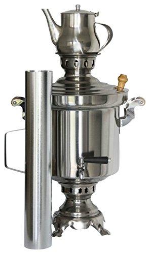 Russischer/Türkischer Edelstahl Holzkohle Samowar 5 Liter mit 1 Liter Teekanne - Holzkohle Wasserkocher