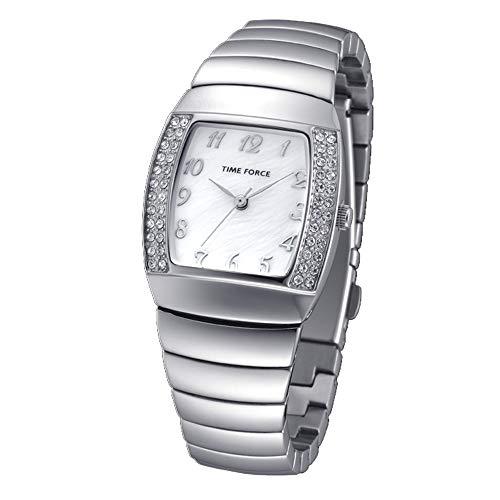 TIME FORCE Reloj Analógico para Mujer de Cuarzo con Correa en Acero Inoxidable TF-4095L02M
