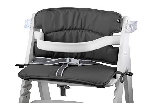 Tinydo Hochstuhl-Sitzkissen optimal für Roba und ähnliche Treppenhochstühle - 2teilg. Set mit Memory-Schaum-Dämpfung Sitzverkleinerer-Auflage für Babystühle rutschfest pflegeleicht (dunkelgrau)
