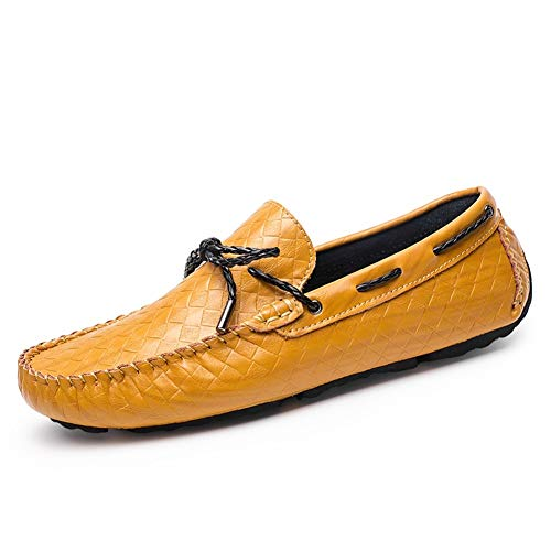 GOLDT1 Battle Driving Loafers for Männer Peans Schuhe Slip On Kunstleder Einfarbig Erfahren Genäht Lug Sohle Einfarbig Premium Echtleder Casual Soft Flats Boat (Color : Braun, Größe : 38 EU) -