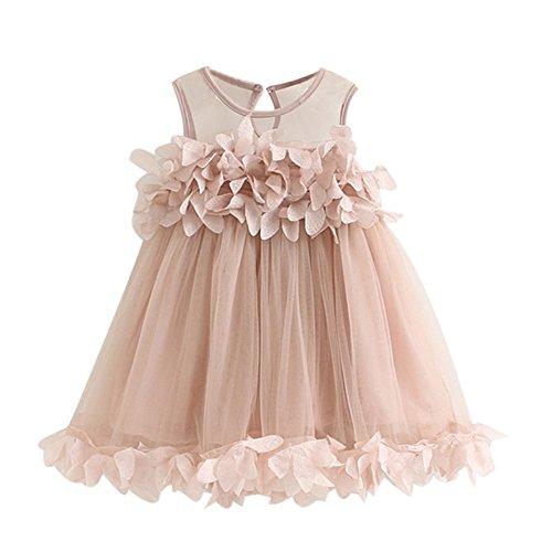 Byste abito bambina ragazze abiti vestito da principessa,dolce pizzo gilet petalo filato netto vestito tutù gonna in tulle morbida,compleanno nozze damigella d'onore formale vestito (rosa, 6 anni)