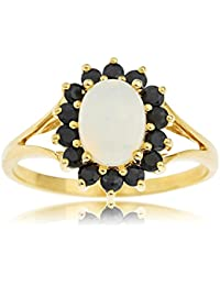 Ornami Glamour 9ct Yellow Gold Oval Opal and Dark Sapphire Ring