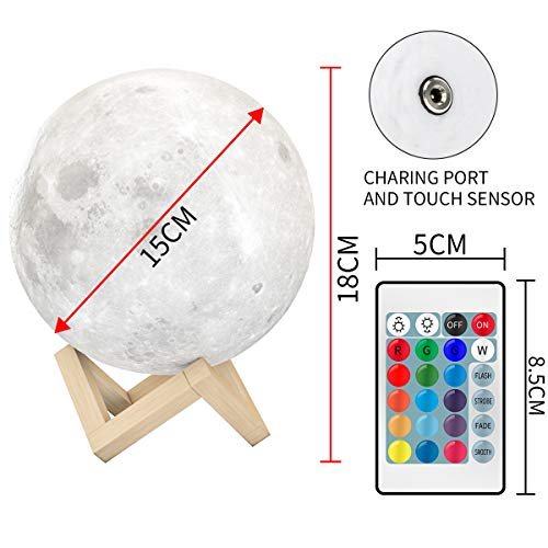 EXTSUD Full Moon Lamp, LED Lunar Night Light Remote Control Table Lamp Dimmable Brightness 16 Main Colors, 4 Light Conversion Modes with USB Charging Moonlight Gift with Wooden Holder (15 cm)