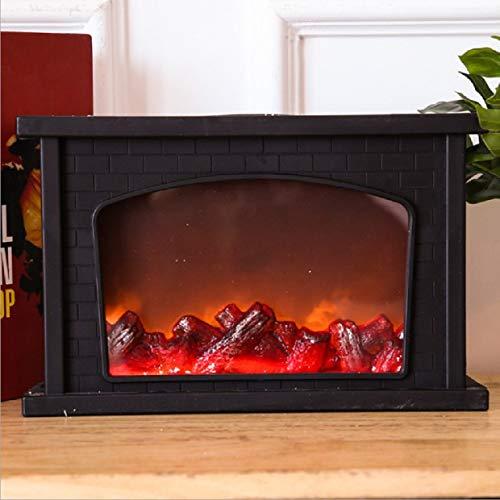 LED con estilo retro chimenea simulada lámpara de llama de carbón con leña LED elegante con estilo...