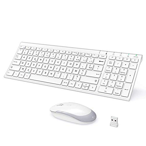iclever Clavier et Souris sans Fil, Transmission 2.4 Ghz Clavier Design Slim France AZERTY Disposition,Récepteur USB pour PC,Ordinateur de Bureau/Portable,Smart TV,Windows XP/Vista Blanc